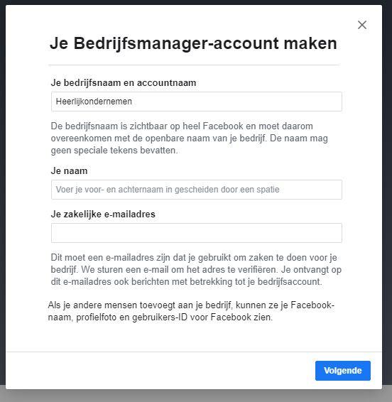 Bedrijfsmanager-account